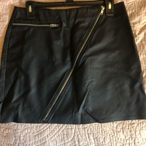 Kendall and Kylie Black Leather Skirt with Zippers